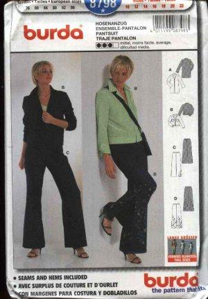 Burda Sewing Pattern 8798 TALL Misses Sizes 10-22 Pantsuit Jacket Pants