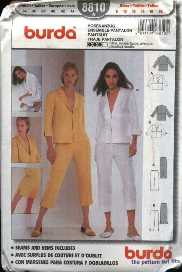 Burda Sewing Pattern 8810 Misses Sizes 8-18 Pantsuit Jacket Top Capri Pants