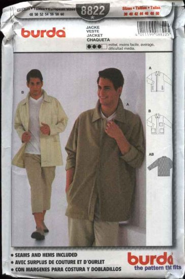 Burda Sewing Pattern 8822 Men's Sizes 38-50 Lightweight Casual Long Sleeve Jacket