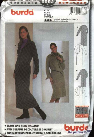 Burda Sewing Pattern 8863 Misses Sizes 10-24 Button Front Straight Dress