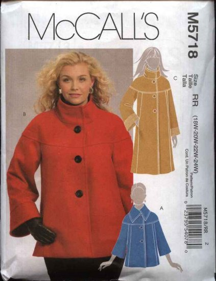 McCall's Sewing Pattern 5718 Women's Plus Size 18W-24W Lined Winter Jackets Coats