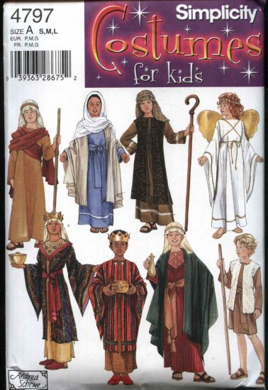 Simplicity Sewing Pattern 4797 Child's Sizes S-L (Chest 21-30) Nativity Christmas Play Costumes