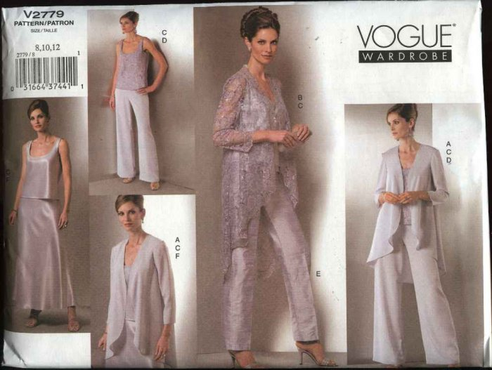 Vogue Sewing Pattern 2779 Misses Size 20-22-24 Formal Wardrobe Jacket Top Pants Skirt