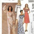 McCall's Sewing Pattern 3975 Misses Size 12-18 A-line Bias Peasant Baby Doll Empire Waist Dresses