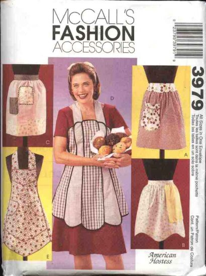 McCall's Sewing Pattern 3979 Misses Sizes 8-22  Five Vintage Style Half Full  Aprons