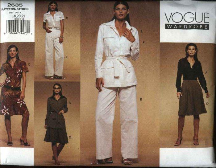 Vogue Sewing Pattern 2635 Misses Size 18-20-22 Wardrobe Jacket Dress  Shirt Skirt Pants