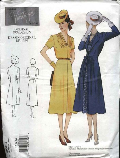 Vogue Sewing Pattern 2669 Misses size 6-8-10 1939 Style Dress Coat