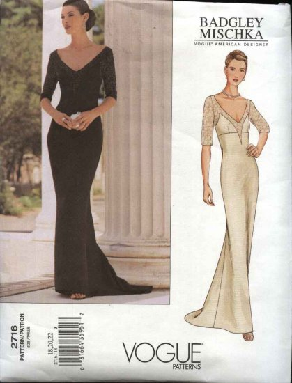 Vogue Sewing Pattern 2716 Misses Size 6-8-10 Badgley Mischka Formal Dress Evening Gown