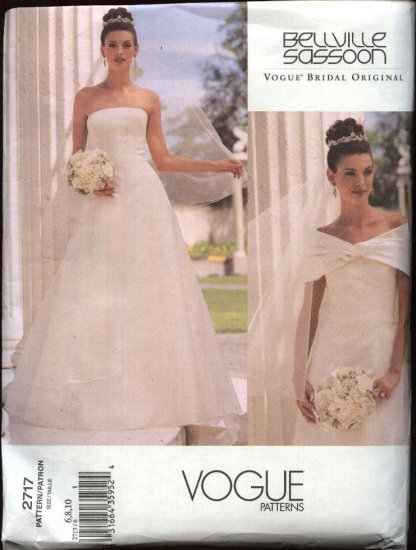 Vogue Sewing Pattern 2717 Misses size 12-14-16 Wedding Dress Bridal Gown Formal Bellville Sassoon