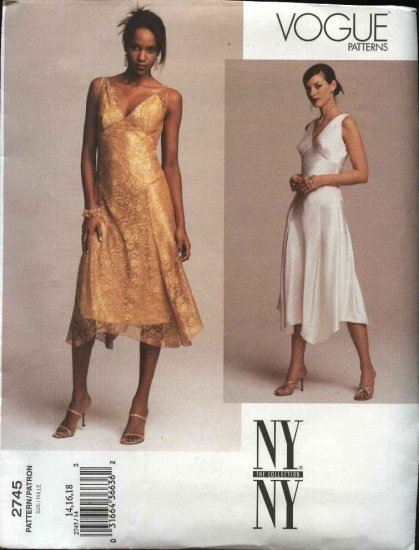 Vogue Sewing Pattern 2745 Misses size 8-10-12 NYNY Formal Evening Short Dress Slip