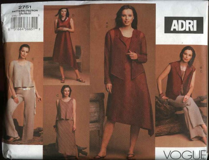 Vogue Sewing Pattern 2751 Misses Size 12-14-16 ADRI Wardrobe  Dress Jacket Skirt Top Vest Pants