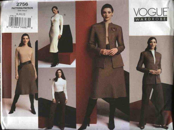 Vogue Sewing Pattern 2756 Misses Size 8-10-12 Wardrobe Dress Jacket Skirt Top Pants