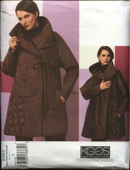 Vogue Sewing Pattern 2757 Misses size 6 Koos Van Den Akker Reversible Quilted Coat