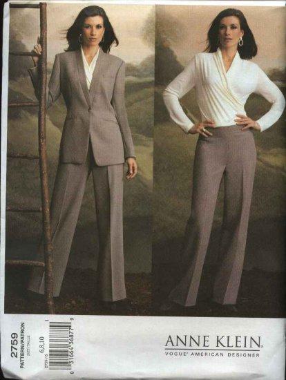 Vogue Sewing Pattern 2759 Misses size 6-8-10 Anne Klein Pants Jacket Mock Wrap Front Top