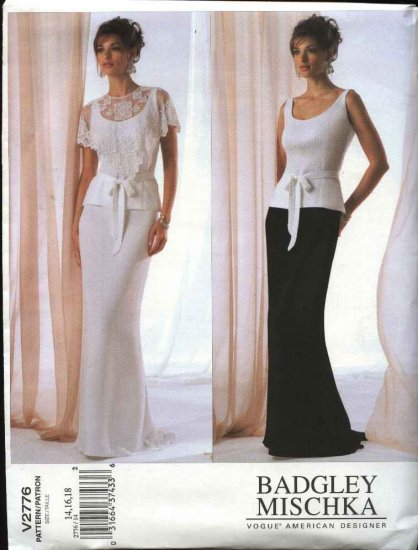 Vogue Sewing Pattern 2776 Misses Size 20-22-24 Badgley Mischka 2-piece Evening Gown Formal Dress