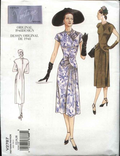 Vogue Sewing Pattern 2787 Misses size 6-8-10 1940's Vintage Style Day Dress