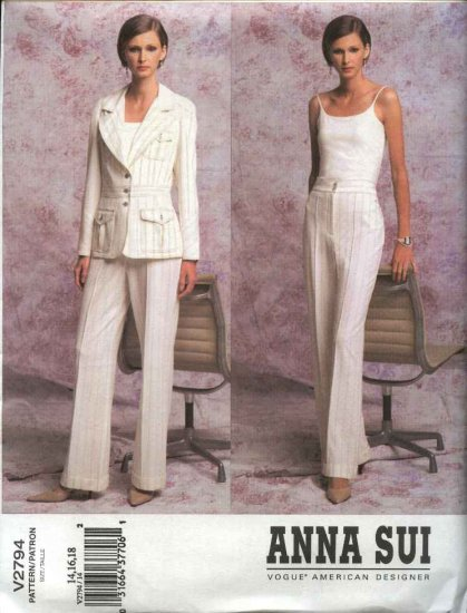 Vogue Sewing Pattern 2794 Misses size 8-10-12 Anna Sui Pants Jacket