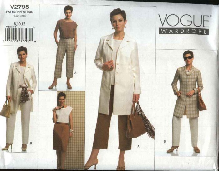 Vogue Sewing Pattern 2795 Misses Sizes 20-22-24  Wardrobe Jacket Top Skirt Pants