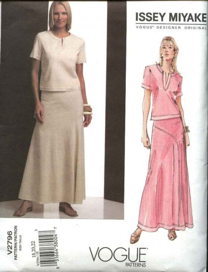 Vogue Sewing Pattern 2796 Issey Miyake Misses Size 6-8-10 Skirt Top
