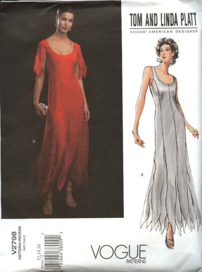 Vogue Sewing Pattern 2798 Misses Size 6-8-10 Evening Dress Gown Formal Tom Linda Platt