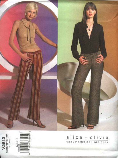 Vogue Sewing Pattern 2812 Misses Size 18-20-22 alice+olivia Easy Low-rise Pants Slacks