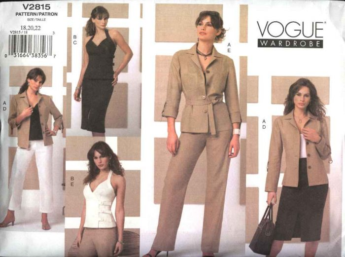 Vogue Sewing Pattern 2815 Misses Size 12-14-16 Easy Wardrobe Shirt-Jacket Halter Top Skirt Pants