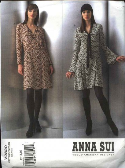 Vogue Sewing Pattern 2820 Misses Size 18-20-22 Anna Sui 2 Dresses