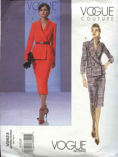 Vogue Sewing Pattern 2823 Misses Size 14-16-18 Easy Couture Suit Jacket Skirt