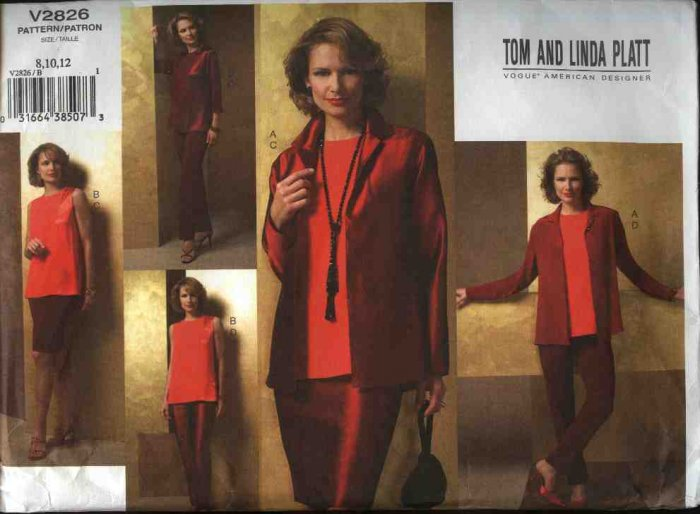 Vogue Sewing Pattern 2826 Misses Size 8-10-12 Wardrobe Jacket Tunic Skirt Pants Tom Linda Platt