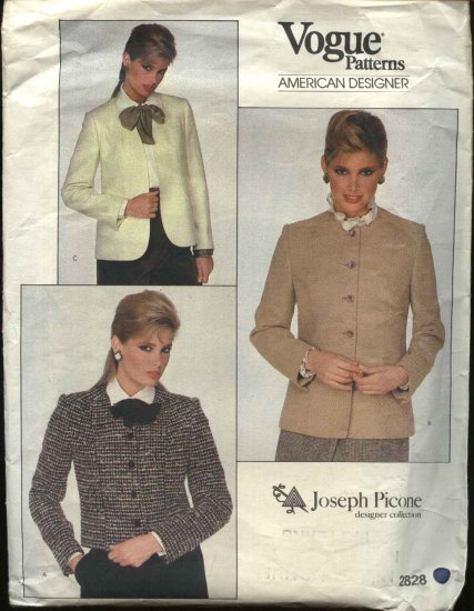 Vogue Sewing Pattern 2828 Misses size 10 Princess Seam Lined Jacket Joseph Picone