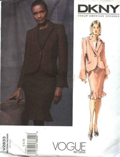 Vogue Sewing Pattern 2833 Misses Size 6-8-10 DKNY Suit Jacket & Godet Skirt