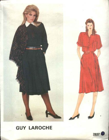Vogue Sewing Pattern 2837 Misses Size 8 Guy Laroche Dress & Shawl Paris Original