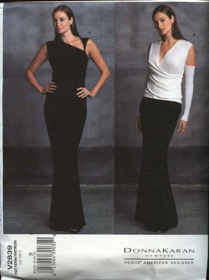 Vogue Sewing Pattern 2839 Misses size 8-10-12 Donna Karan Evening Gown Formal Tops Skirt
