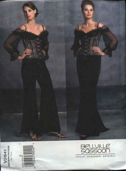 Vogue Sewing Pattern 2841 Misses size 6-8-10 Sassoon Formal Evening Corset Top Skirt Pants