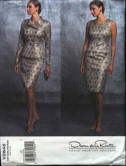 Vogue Sewing Pattern 2845 Misses Size 8-12 Oscar de la Renta Suit Skirt Top Jacket