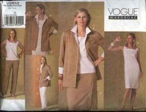 Vogue Sewing Pattern 2852 Misses Size 20-22-24 Easy Wardrobe Skirt Dress Jacket Top Pants