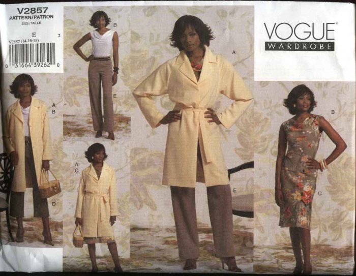 Vogue Sewing Pattern 2857 Misses Size 14-16-18 Easy Wardrobe Top Skirt Pants Jacket