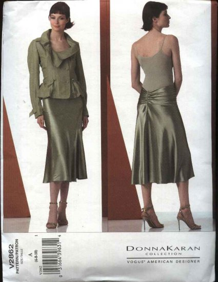Vogue Sewing Pattern 2862 Misses Size 6-10 Bias Skirt Lined Button Front Jacket Suit DKNY