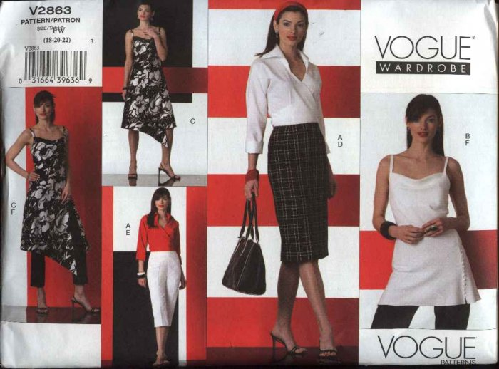 Vogue Sewing Pattern 2863 Misses size 6-8-10 Easy Wardrobe Dress Top Skirt Pants Shirt Capris
