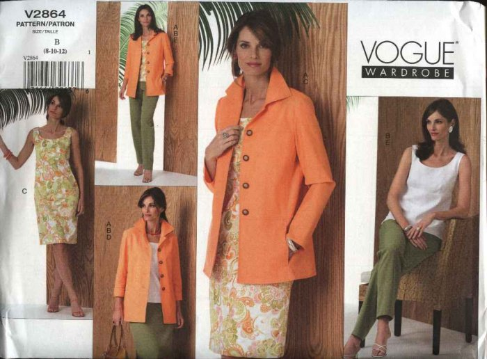 Vogue Sewing Pattern 2864 Misses Size 8-10-12 Easy Wardrobe Dress Jacket Top Skirt Pants