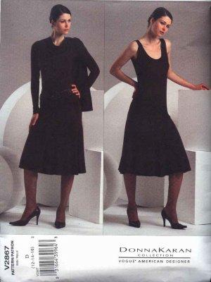 Vogue Sewing Pattern 2867 Misses Size 12-14-16 Easy Donna Karan Knit Shrug Top Skirt