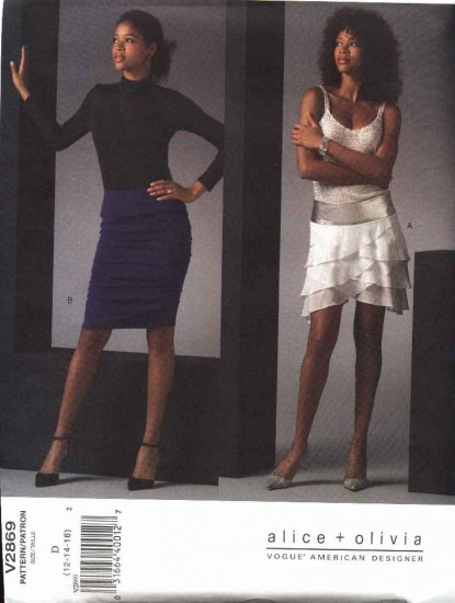 Vogue Sewing Pattern 2869 Misses Size 12-14-16 alice+Olivia Yoked Low Rise Tiered Ruched Skirts