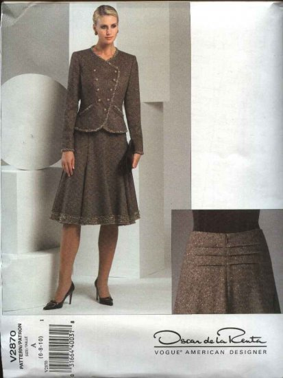 Vogue Sewing Pattern 2870 Misses size 12-14-16 Suit Jacket Flared Skirt Oscar de la Renta
