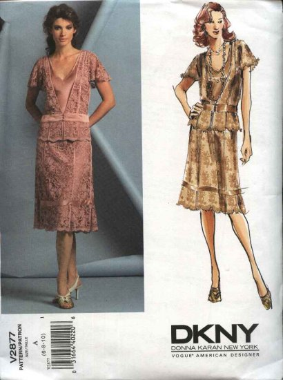Vogue Sewing Pattern 2877 Misses size 6-8-10 DKNY Formal Skirt Top Mother of the Bride