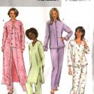 Butterick Sewing Pattern 4406 Misses Size 16-22 Easy Pajamas Top Jacket Robe Tunic Pant