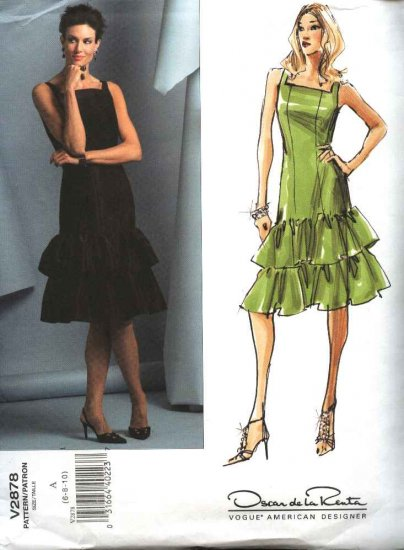 Vogue Sewing Pattern 2878 Misses Size 12-14-16 Oscar de la Renta Easy Ruffled Formal Dress