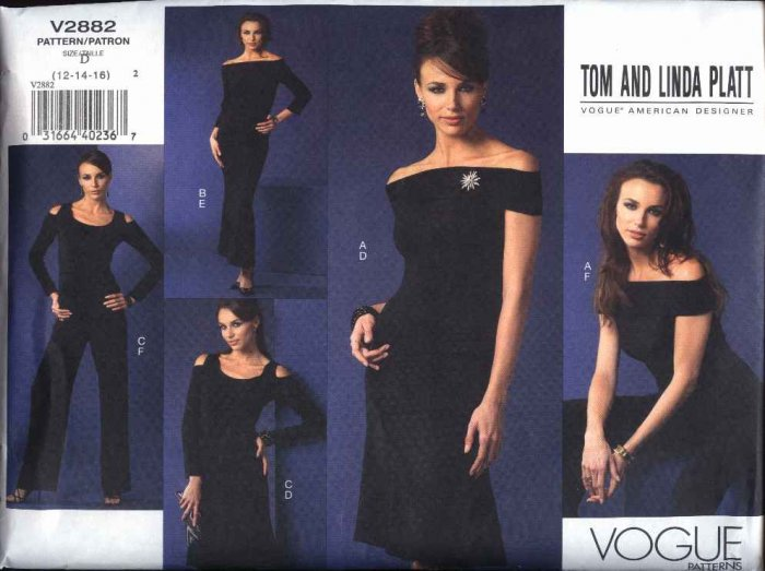 Vogue Sewing Pattern 2882 Misses Size 6-8-10 Tom Linda Platt Tops Skirts Pants