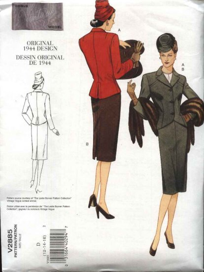 Vogue Sewing Pattern 2885 Misses size 6-8-10 40's Style Suit Jacket Skirt