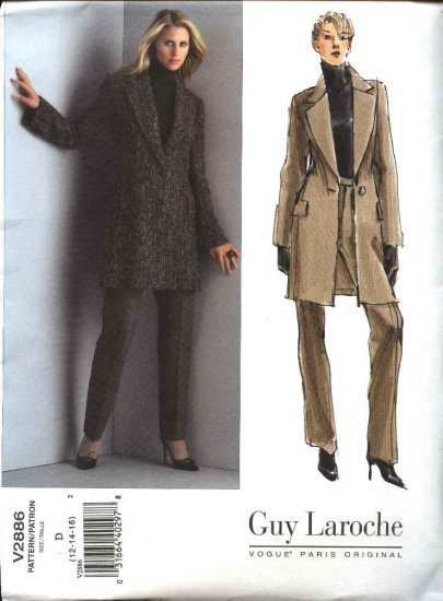 Vogue Sewing Pattern 2886 Misses Size 18-20-22 Guy Laroche Pantsuit Jacket Pant