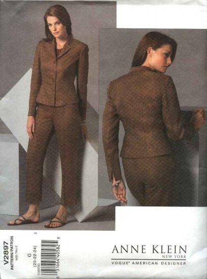 Vogue Sewing Pattern 2897 Misses Size 8-10-12 Anne Klein Jacket Pants Pantsuit